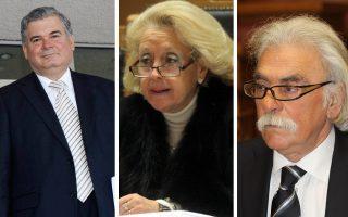 Από αριστερά: Ο κ. Κουτρουμάνος αναμένεται να επιλεγεί ως νέος πρόεδρος του Αρείου Πάγου, η κ. Θάνου ως αντιπρόεδρος, ενώ ο κ. Αγγελάρας θα παραμείνει στη θέση του προέδρου του Ελεγκτικού Συνεδρίου.