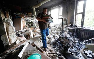 Εικόνες καταστροφής στο βομβαρδισμένο και πολιορκημένο Ντονέτσκ.