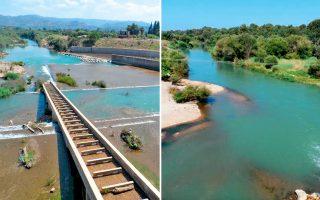 Αποψη του Αλφειού και του φράγματος Φλόκα. Κάθε φορά που ο ποταμός υπερχειλίζει προκαλούνται εκτεταμένες καταστροφές, κυρίως στις καλλιεργήσιμες εκτάσεις.