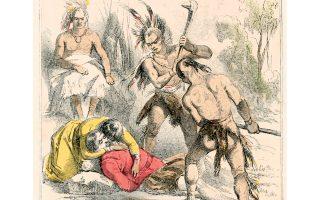 H Ποκαχόντας και ο Τζον Σμιθ. Σκίτσο του Τσαρλς Μπρόουνελ από την αυθεντική έκδοση του βιβλίου, που κυκλοφόρησε το 1853 και επανεκδόθηκε το 1864 με την προσθήκη ενός κεφαλαίου για τους πολέμους των Σιου.