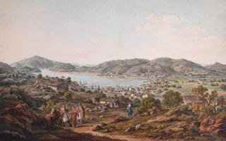 Ενα από τα 55 έργα που εκτίθενται στο Μουσείο Ασιατικής Τέχνης. Εργα των περιηγητών E. Dodwell και S. Pomardi που αποτύπωσαν την Ελλάδα των αρχών του 19ου αιώνα.