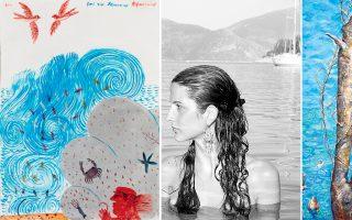 Στην επάνω σειρά, το έργο του Αλέκου Φασιανού γειτνιάζει με τη φωτογραφία της Calliope αλλά και με τη ζωγραφιά της Ειρήνης Ηλιοπούλου.