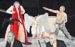 Σκηνή από την παράσταση των «Περσών» του Αισχύλου, που παρουσιάστηκε στο αρχαίο θέατρο της Επιδαύρου από το Κρατικό Θέατρο Βορείου Ελλάδος, σε σκηνοθεσία Νικαίτης Κοντούρη.