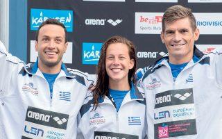 Και η κολύμβηση είχε τη μεγάλη διάκριση, καθώς στο ομαδικό ανοικτού νερού οι Γιαννιώτης, Φωκαΐδης και Αραούζου τερμάτισαν στη δεύτερη θέση σε 56.05.5.