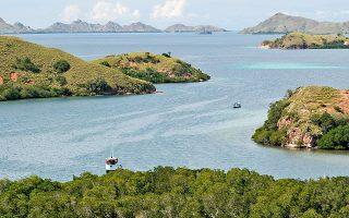 Πλοία φεύγουν από την περιοχή Ρίνκα του νησιού Κομόντο. Ενα τουριστικό πλοίο ναυάγησε καθώς κατευθυνόταν προς τον δημοφιλή προορισμό.
