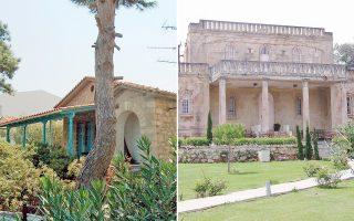 Το σπίτι της οικογένειας Καρυωτάκη που ερειπωμένο (αριστερά), γειτνιάζει με τη διατηρητέα βίλα Σικελιανού, που κτίστηκε σύμφωνα με επιθυμία της Εύας Πάλμερ (δεξιά).