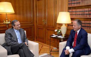 Το μέλος της Εκτελεστικής Επιτροπής της Ευρωπαϊκής Κεντρικής Τράπεζας κ. Μπενουά Κερέ βρέθηκε στην Αθήνα και είχε χθες συναντήσεις με τον πρωθυπουργό Αντώνη Σαμαρά (φωτ.), τον υπουργό Οικονομικών Γκίκα Χαρδούβελη και τον διοικητή της ΤτΕ Γιάννη Στουρνάρα.