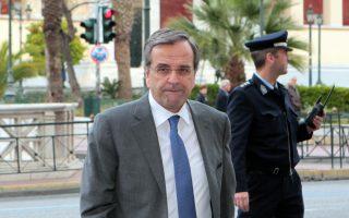 Ο Πρωθυπουργός Αντώνης Σαμαράς φθάνει στο Γενικό Λογιστήριο του Κράτους όπου προήδρευσε σε σύσκεψη με τους με τη συμμετοχή του αναπληρωτή υπουργού Οικονομικών Χρήστο Σταικούρα, και των Φίλιππου Σαχινίδη και Χρήστου Πρωτόπαπα Δευτέρα 7 Απριλίου 2014. ΑΠΕ-ΜΠΕ/ΑΠΕ-ΜΠΕ/Παντελής Σαίτας