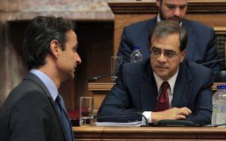 Ο υπουργός Οικονομικών Γκίκας Χαρδούβελης (Δ) και ο υπουργός Διοικητικής Μεταρρύθμισης Κυριάκος Μητσοτάκης (Α) παρίστανται στη συνεδρίαση της Διαρκούς Επιτροπής Οικονομικών Υποθέσεων, με θέμα ημερήσιας διάταξης: Επεξεργασία και εξέταση του σχεδίου νόμου του Υπουργείου Οικονομικών «Μέτρα στήριξης και ανάπτυξης της ελληνικής οικονομίας, οργανωτικά θέματα Υπουργείου Οικονομικών και άλλες διατάξεις» στη Βουλή, Αθήνα, Παρασκευή 01 Αυγούστου 2014. ΑΠΕ-ΜΠΕ/ΑΠΕ-ΜΠΕ/ΣΥΜΕΛΑ ΠΑΝΤΖΑΡΤΖΗ