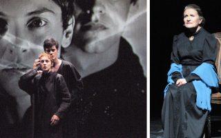 Η συνύπαρξη οθόνης και θεάτρου. Η Γιούλικα Σκαφιδά και ο Αλέξανδρος Βάρθης, ως Ιωάννα και Φλουμέντιος. Μια ισχυρή γεύση της παράστασης. Συγκλονιστική η ερμηνεία της Ράνιας Οικονομίδου (δεξιά).