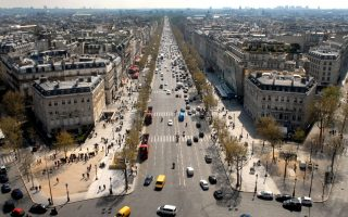 The Avenue des Champs-Elysees is viewed from atop the Arc de Triomphe in Paris, France, on Wednesday, April 16, 2008. The Champs-Elysees is now the world's third-most expensive commercial property location in the world after New York's Fifth Avenue and Hong Kong's Causeway Bay. Photographer: Alastair Miller/Bloomberg News