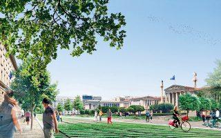 Ο σχεδιασμός της πεζοδρόμησης της Πανεπιστημίου (στη φωτογραφία τμήμα της μακέτας του έργου) προβλέπει την ύπαρξη πολλών διαδρόμων πρόσβασης των λεωφορείων, ενώ το ίδιο θα ισχύει και για τα ταξί.