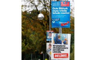 Προεκλογικές αφίσες κομμάτων ενόψει των επικείμενων τοπικών εκλογών στο Βραδεμβούργο.