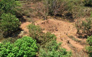 Ο κρατήρας που άφησε ο μετεωρίτης σε δασώδη περιοχή, κοντά στο διεθνές αεροδρόμιο της πρωτεύουσας της Νικαράγουας.