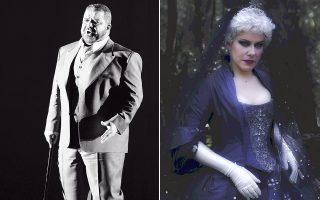 Ο βαρύτονος Δημήτρης Πλατανιάς στον «Σικελικό Εσπερινό» του Βέρντι (Μέγαρο, 2013) και η σοπράνο Βασιλική Καραγιάννη ως Βασίλισσα της Νύχτας στον «Μαγικό Αυλό» του Μότσαρτ.