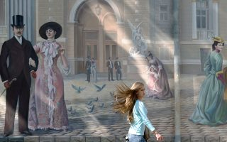 Κοπέλα βηματίζει αμέριμνη μπροστά από έναν ζωγραφισμένο τοίχο στην Οδησσό, η οποία γιόρταζε τα 220 χρόνια από την ίδρυσή της, παρά το γεγονός ότι η Ουκρανία βρισκόταν ατύπως σε εμπόλεμη κατάσταση.