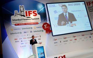 Ο Τούρκος αντιπρόεδρος της κυβέρνησης Αλί Μπαμπατσάν, χθες, στο συνέδριο της Κωνσταντινούπολης.