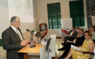 Ο υπουργός Πολιτισμού Κ. Τασούλας μιλάει κατά τη διάρκεια προηγούμενης εκδήλωσης για τον επαναπατρισμό νεολιθικών αρχαιοτήτων από τη Γερμανία.