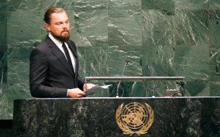 O ηθοποιός και αγγελιαφόρος του ΟΗΕ για την Ειρήνη, Λεονάρντο ντι Κάπριο, ανέβηκε χθες στο βήμα της συνόδου κορυφής για το Κλίμα στη Νέα Υόρκη και ζήτησε από τους ηγέτες να σταματήσουν να αντιμετωπίζουν την κλιματική αλλαγή ως «μυθοπλασία». «Εγώ βγάζω το ψωμί μου υποκρινόμενος, εσείς, όμως, όχι», είπε. «Είναι σειρά σας τώρα να απαντήσετε στη μεγαλύτερη πρόκληση για την ανθρωπότητα. Σας ικετεύουμε να την αντιμετωπίσετε με θάρρος και ειλικρίνεια», πρόσθεσε.