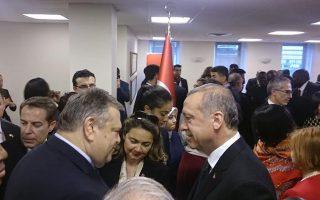 Ευ. Βενιζέλος και Τ. Ερντογάν χθες στη Νέα Υόρκη.