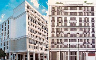 Το κτίριο της οδού Μητροπόλεως, όπου στεγαζόταν το «παλαιό» υπουργείο Παιδείας, και η μακέτα με τη μελλοντική μορφή του.