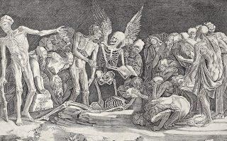 Χαρακτικό έργο του Ιταλού καλλιτέχνη Agostino Musi, πιο γνωστού ως Agostino Venezian, με τίτλο «Οι σκελετοί» (1518). Από τη συλλογή Kirk Edward Long.
