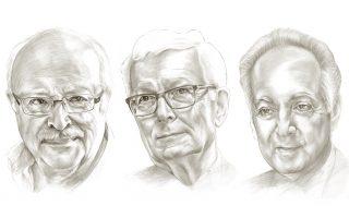 Από αριστερά: Θάνος Βερέμης, Michael Llewellyn - Smith, Πασχάλης Κιτρομηλίδης. Εικονογράφηση:Τιτίνα Χαλματζή