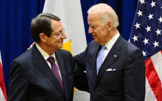 Ο Πρόεδρος της Κυπριακής Δημοκρατίας Νίκος Αναστασιάδης (Α) συναντήθηκε με τον Αντιπρόεδρο των ΗΠΑ, Τζόζεφ Μπάιντεν (Δ) την Παρασκευή 26 Σεπτεμβρίου 2014 στη Νέα Υόρκη. ΑΠΕ-ΜΠΕ/ΑΠΕ-ΜΠΕ/ΔΗΜΗΤΡΗΣ ΠΑΝΑΓΟΣ