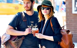 New York, NY - Emma Stone and Andrew Garfield finish up their lunch date at Cafe Cluny and give each other a kiss goodbye before parting ways.  Emma was so into smooching her man that she didn't even notice a piece of newspaper getting stuck on her leg.  The couple walked around holding hands and looked happier than ever.  AKM-GSI          June 16, 2014   To License These Photos, Please Contact :  Steve Ginsburg (310) 505-8447 (323) 423-9397 steve@akmgsi.com sales@akmgsi.com  or  Maria Buda (917) 242-1505 mbuda@akmgsi.com ginsburgspalyinc@gmail.com