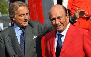 Ο πρώην πρόεδρος της Ferrari Λούκα Κορντέρο ντι Μοντετζέμολο (αριστερά) μαζί με τον πρόεδρο της τράπεζας Santander, Εμίλιο Μποτίν.