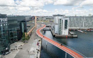 Το Ποδηλατικό Φίδι είναι μια υπερυψωμένη γέφυρα χρώματος πορτοκαλί, μήκους 235 μ. και πλάτους 4 μ. με δύο ποδηλατολωρίδες και αρκετά ήπια κλίση.