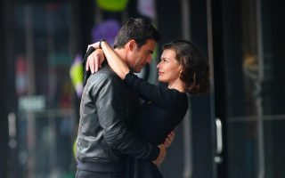 Milla Jovovich films a commercial in the Meatpacking District in New York City