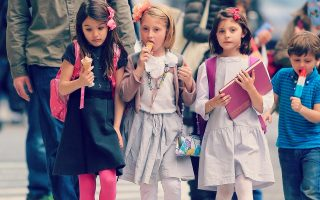 EXCLUSIVE: Suri Cruise enjoys ice cream with her friends while out and about in NYC