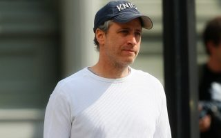 Jon Stewart looks depressed in New York City
