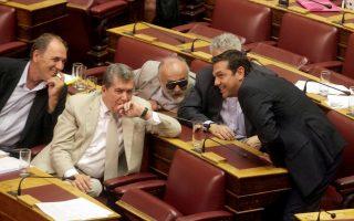 Ο πρόεδρος του ΣΥΡΙΖΑ Αλέξης Τσίπρας (Δ) και οι βουλευτές Γιώργος Σταθάκης (Α), Αλέξης Μητρόπουλος (2Α), Παναγιώτης Κουρουμπλής (Κ) και Σταύρος Κοντονής (2Δ), συνομιλούν στη συζήτηση του πολυνομοσχεδίου, στο β' θερινό τμήμα της Βουλής, Τετάρτη 6 Αυγούστου 2014. ΑΠΕ-ΜΠΕ/ ΑΠΕ-ΜΠΕ/ ΑΛΕΞΑΝΔΡΟΣ ΜΠΕΛΤΕΣ