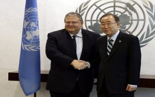 epa04411494 Evangelos Venizelos, Deputy Prime Minister and Foreign Minister of Greece (L), shakes hands with United Nations Secretary General Ban Ki-moon (R) during the 69th session of the United Nations General Assembly at United Nations headquarters in New York, New York, USA, 21 September 2014. At the annual gathering beginning 24 September, representatives from the 193 UN member states and the Palestinian Authority, the Vatican and the European Union will try to make headway on the most pressing crises and lay out their visions for long-term international development.  EPA/JASON SZENES