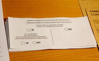 Ψηφοδέλτια για το δημοψήφισμα στην Καταλωνία στο υπουργείο Εσωτερικών της αυτόνομης περιοχής στη Βαρκελώνη.