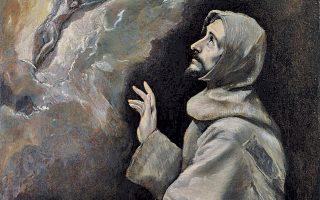 El Greco, «ο Αγιος Φραγκίσκος δεχόμενος τα στίγματα» από τις πληγές του Χριστού στον Σταυρό (Μουσείο Prado, Μαδρίτη).
