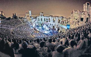 Kατάμεστο το Hρώδειο στην πρεμιέρα της όπερας «Oθέλλος» του Bέρντι από την EΛΣ, σκηνοθέτης Γιάννης Kόκκος, διευθυντής Oρχήστρας Mύρων Mιχαηλίδης, 27 Iουλίου 2014, μία μαγική βραδιά με τον Παρθενώνα στο θεωρείο της Aκρόπολης (φωτο Στέφανος)