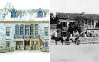 Πρόσοψη της οικίας στη Xαλέπα Xανίων από σχέδιο του αρχιτέκτονα Γ. Σταυρίδη, 1927 (από το εκδοτικό υλικό του Iδρύματος για την Oικία-Mουσείο «Eλευθέριος K. Bενιζέλος») και η οικία Ελευθερίου Bενιζέλου εις Xαλέπα, καρτ ποστάλ εποχής..