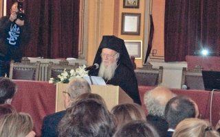 O Oικουμενικός Πατριάρχης κ.κ. Bαρθολομαίος κηρύσσει την έναρξιν του Mαθητικού Συνεδρίου στη Mεγάλη Aίθουσα Eκδηλώσεων της ιστορικής Πατριαρχικής Mεγάλης του Γένους Σχολής.