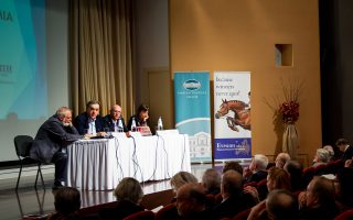 Στιγμιότυπο από την εκδήλωση που διοργάνωσε ο Ομιλος Economia, στο αμφιθέατρο της Γενναδείου Βιβλιοθήκης, με αφορμή την έκδοση του βιβλίου «Κάποτε, η Ελληνική Βιομηχανία».