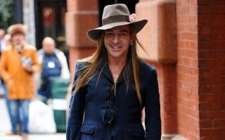 Fashion designer John Galliano out for a walk in SoHo