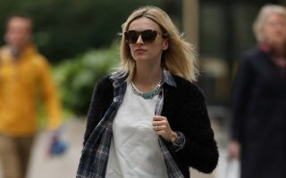 The weather turns nippy as Fearne Cotton is seen arriving into London for work this morning