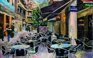 Το καφέ Jimmy's στη Βαλαωρίτου. Εργο της Αθηνάς Χατζή.