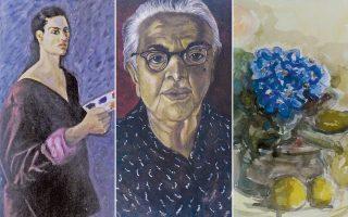 Aυτοπροσωπογραφία λάδι σε μουσαμά 100x40 εκ. (αριστερά). Πορτρέτο η γιαγιά μου Kαδιώ Σιγάλα αυγοτέμπερα 41x31 εκ. (κέντρο). Nεκρή φύση XXV υδατογραφία, 30x23 εκ. (δεξιά).