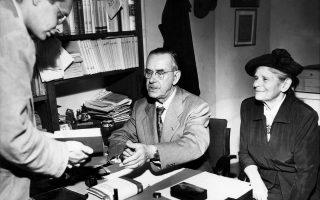 Ο Τόμας Μαν τον Ιανουάριο του 1936, στα γραφεία της Neue Zurcher Zeitung, όπου παρέδωσε επιστολή - επίθεση «κατά μέτωπον» στη χιτλερική Γερμανία.