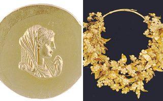 Η Ολυμπιάδα σε χρυσό μετάλλιο ρωμαϊκών χρόνων και το στεφάνι του Φιλίππου Β΄.