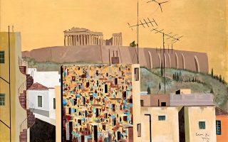 Σπύρος Βασιλείου, έργο 1971. Η Αθήνα με στέμμα τον Παρθενώνα, με στριφτές σκάλες και αντένες να στοχεύουν τον αττικό ουρανό.