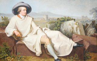 Ο εμβληματικός πίνακας του J. H. W. Tischbein με τίτλο «Ο Γκαίτε στη ρωμαϊκή εξοχή» (1787).